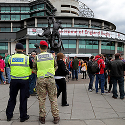 TWICKENHAM, ENGLAND - APRIL 29: A Royal Military Policeman and a Royal Navy Policeman look on as fans start to arrive at the ground before the Babcock Trophy rugby union match between The British Army and the Royal Navy played in Twickenham Stadium, on April 29, 2017 in Twickenham, England.  (Photo by Mitchell Gunn/Getty Images) *** Local Caption ***