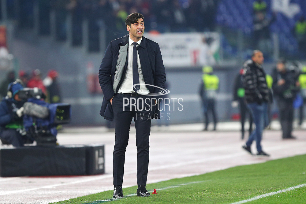 Roma head coach Paulo Fonseca gestures during the UEFA Europa League, Group J football match between AS Roma and Wolfsberg AC on December 12, 2019 at Stadio Olimpico in Rome, Italy - Photo Federico Proietti / ProSportsImages / DPPI