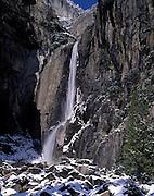 Lower Yosemite Falls, Yosemite Falls, Waterfall, Winter, Ice, Snow, Yosemite Valley, Yosemite National Park, California