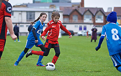 NEWPORT, WALES - Thursday, April 4, 2019: Girls play football at a festival before an International Friendly match between Wales and Czech Republic at Rodney Parade. (Pic by David Rawcliffe/Propaganda)