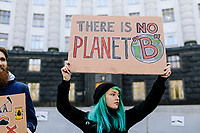 Kyiv, Ukraine, 15 March 2019. Students and activists mobilized to participate the global movement of climate strikes, protesting in front of the Ministry of Energy and the Cabinet of Ministers. © Niels Ackermann / Lundi13
