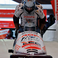 16 December 2007:  The Lativia 1 four-man bobsled driven by Janis Minins with Daumants Dreiskens, Oskars Melbardis and brakeman Intars Dambis compete at the FIBT World Cup 4-Man bobsled competition on December 16, 2007 at the Olympic Sports Complex in Lake Placid, NY.  The Russia 2 sled driven by Alexandr Zubkov won the race with a time of 1:48.79.