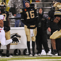 Oct 23, 2009; West Point, N.Y., USA; Rutgers wide receiver Tim Brown (2) hangs on to a reception during Rutgers' 27 - 10 victory over Army at Michie Stadium.