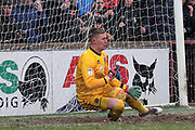 Shrewsbury Town goalkeeper Dean Henderson (1) makes a save a penalty during the EFL Sky Bet League 1 match between Scunthorpe United and Shrewsbury Town at Glanford Park, Scunthorpe, England on 17 March 2018. Picture by Mick Atkins.