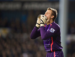LONDON, ENGLAND - Sunday, December 15, 2013: Liverpool's goalkeeper Simon Mignolet in action against Tottenham Hotspur during the Premiership match at White Hart Lane. (Pic by David Rawcliffe/Propaganda)