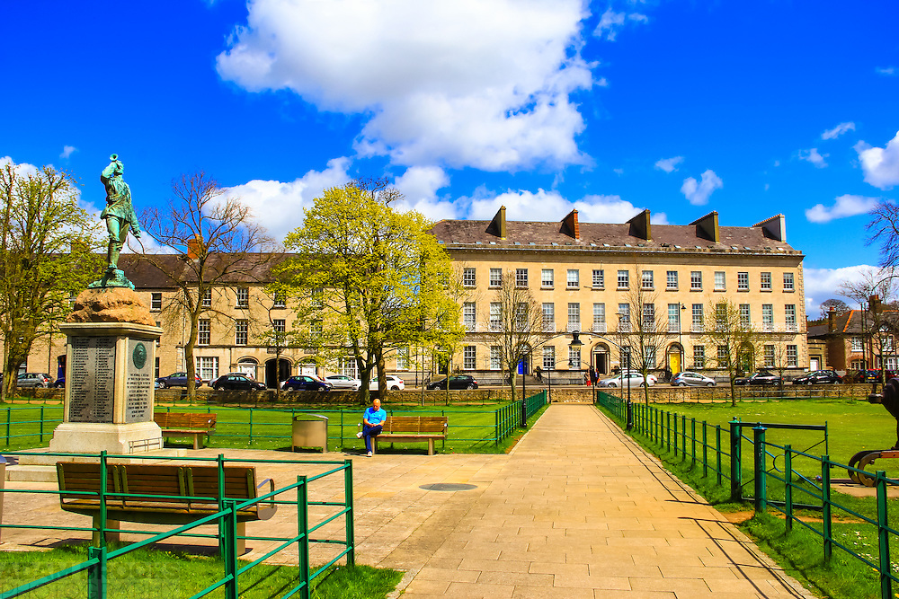 The Mall in Armagh including the memorial to the Royal Irish Fusiliers and the houses erected by Archbishop Robinson in the Georgian era on the East side of the Mall