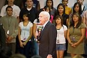 25 AUGUST 2008 -- PHOENIX, AZ:  US Sen John McCain (R-AZ), the presumptive Republican nominee for President, visits Central High School in downtown Phoenix, AZ, Monday, Aug 25. McCain  campaigned with Puerto Rican hip hop, reggaeton star Daddy Yankee (Ramon Ayala). Central High School is one of the most diverse high schools in Phoenix. More than 50 languages are spoken by students at the school.    PHOTO BY JACK KURTZ