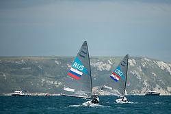 2012 Olympic Games London / Weymouth<br /> <br /> Finn practice race<br /> Finn RUSSkornyakov Eduard<br /> Finn CROKljakovic Gaspic Ivan