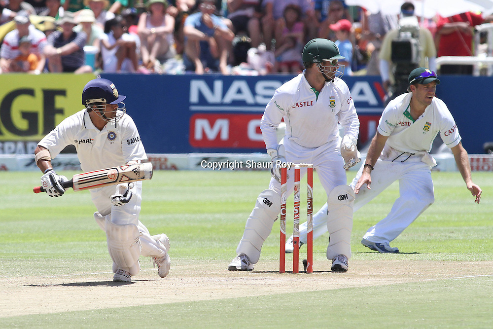 CAPE TOWN, SOUTH AFRICA - 4 January 2011, Sachin Tendulkar of India sets off for a single during day 3 of the 3rd Castle Test between South Africa and India held at Sahara Park Newlands Stadium in Cape Town, South Africa on the 4 January 2011 .Photo by: Shaun Roy