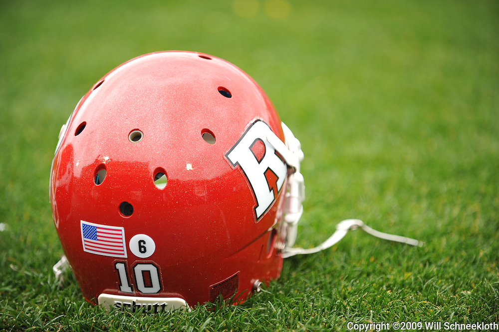Oct 31, 2009; East Hartford, CT, USA; A #6 sticker the late former Connecticut player Jasper Howard was worn by all Rutgers players during the Big East NCAA football game between Rutgers and Connecticut at Rentschler Field.