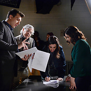 "Crazy Ex-Girlfriend -- ""Nathaniel Is Irrelevant."" -- Image Number: CEG313c_051b.jpg -- Pictured (L-R): Scott Michael Foster as Nathaniel, Executive Producer/Director Aline Brosh McKenna and Rachel Bloom as Rebecca -- Photo: Lisa Rose/The CW -- © 2018 The CW Network, LLC. All Rights Reserved."