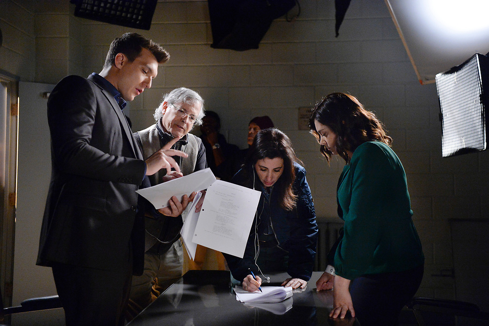 """Crazy Ex-Girlfriend -- """"Nathaniel Is Irrelevant."""" -- Image Number: CEG313c_051b.jpg -- Pictured (L-R): Scott Michael Foster as Nathaniel, Executive Producer/Director Aline Brosh McKenna and Rachel Bloom as Rebecca -- Photo: Lisa Rose/The CW -- © 2018 The CW Network, LLC. All Rights Reserved."""