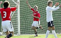 Fotball / Football<br /> International U 17 Team Tournament<br /> Norge v Polen 3-1<br /> Norway v Poland 3-1at La Manga - Spain<br /> Poland played in Norways white changing shirts<br /> 05.02.2007<br /> Foto: Morten Olsen, Digitalsport<br /> <br /> Jean Norana - Viking / Norway celebrates for 3-1