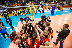 Team Nova KBM Maribor after winning volleyball match between Calcit Ljubljana and Nova KBM Maribor at 2017 Slovenian Women Cup Final, on March 18th, 2017, SD Planina, Kranj, Slovenia. Photo by Grega Valancic / Sportida