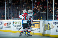 KELOWNA, CANADA - JANUARY 17: Leif Mattson #28 congratulates Conner Bruggen-Cate #20 of the Kelowna Rockets on his second period goal against the Lethbridge Hurricanes on January 17, 2017 at Prospera Place in Kelowna, British Columbia, Canada.  (Photo by Marissa Baecker/Shoot the Breeze)  *** Local Caption ***