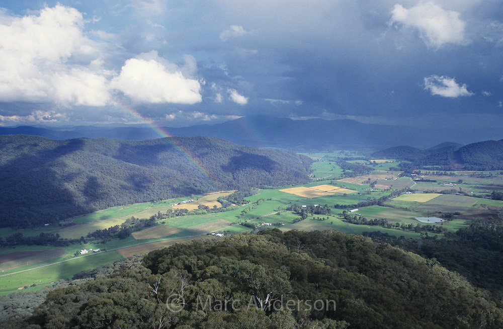 A rainbow over Australian countryside, Victoria
