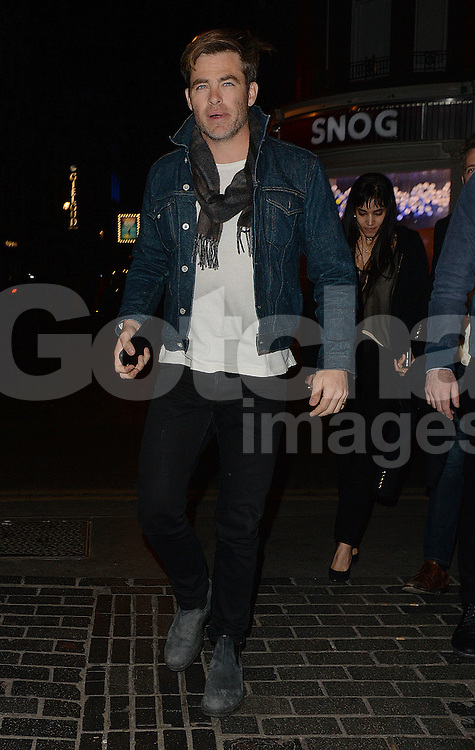 Actor Chris Pine at The Box club in Soho, London, UK. 18/04/2016<br />BYLINE MUST READ : GOTCHAIMAGES.COM<br /><br />Copyright by &copy; Gotcha Images Ltd. All rights reserved.<br />Usage of this image is conditional upon the acceptance <br />of Gotcha Images Ltd, terms and conditions available at<br />www.gotchaimages.com
