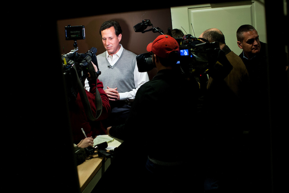 Republican presidential candidate Rick Santorum speaks to reporters after a town hall meeting on Friday, January 6, 2012 in Dublin, NH.