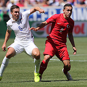 Matt Besler, (left), USA, in action against Mevlut Erdinc, Turkey, during the US Men's National Team Vs Turkey friendly match at Red Bull Arena.  The game was part of the USA teams three-game send-off series in preparation for the 2014 FIFA World Cup in Brazil. Red Bull Arena, Harrison, New Jersey. USA. 1st June 2014. Photo Tim Clayton