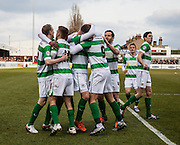 Yeovil Town striker Brandon Goodship is mobbed after opening the scoring during the Sky Bet League 2 match between Dagenham and Redbridge and Yeovil Town at the London Borough of Barking and Dagenham Stadium, London, England on 27 February 2016. Photo by Bennett Dean.
