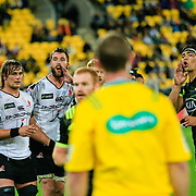 Lineout calls during the Super Rugby union game between Hurricanes and Sunwolves, played at Westpac Stadium, Wellington, New Zealand on 27 April 2018.   Hurricanes won 43-15.