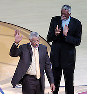 NBA greats Julius Irving, left, and Bill Russell.<br /> Game 3 of the NBA Finals at Quicken Loans Arena in Cleveland. San Antonio Spurs at Cleveland Cavaliers.