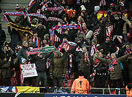 FOOTBALL: Fans of Atlético Madrid before during the UEFA Europa League, Round of 32, 1st leg match between FC København and Atlético Madrid at Parken Stadium, Copenhagen, Denmark on February 15, 2018. Photo: Claus Birch.