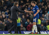 Football - 2017 / 2018 Premier League - Chelsea vs Manchester United<br /> <br /> Antonio Conte, Manager of Chelsea FC, congratulates Cesar Azpilicueta (Chelsea FC)  at the end of the game at Stamford Bridge <br /> <br /> COLORSPORT/DANIEL BEARHAM