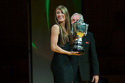 CARDIFF, WALES - Monday, December 5, 2016: Double Olympic Taekwondo Champion Jade Jones is presented with the BBC Wales Sports Personality of the Year 2016 trophy at the Wales Sport Awards Wales Sport Awards 2016 at the Millennium Centre. (Pic by Ian Cook/Propaganda)