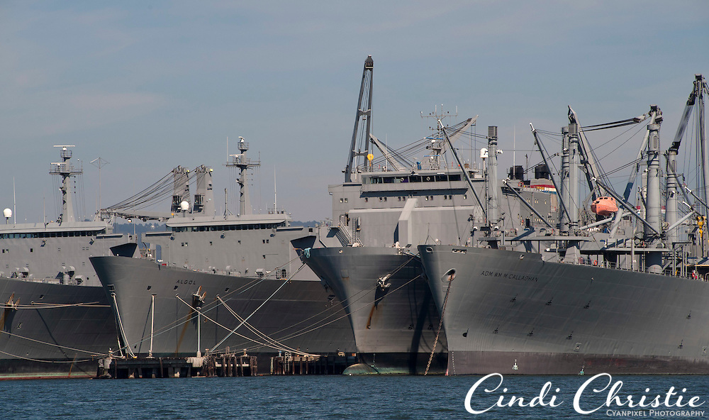 The USS Adm. Wm. M. Callaghan and the SS Algol are part of the ready reserve in Alameda, Calif.,  on Saturday, Sept. 17, 2011. (© 2011 Cindi Christie/Cyanpixel Photography)