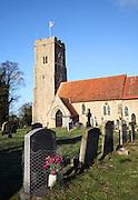 Fresh flowers on grave St Margaret's church, Shottisham, Suffolk, England
