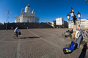 Senate Square; the lutheran Cathedral. Accordeon player.