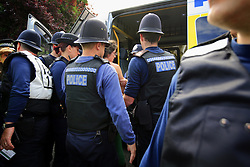 UK ENGLAND WEST SUSSEX BALCOMBE 26JUL13 - Police arrest a protester as local residents demonstrate at the Cuadrilla hydraulic fracking drill site in Balcombe, West Sussex.<br /> <br /> <br /> <br /> Cuadrilla plans to start drilling a 3,000ft (914m) vertical well and a 2,500ft (762m) horizontal bore to the south of the village in search for oil and gas resources.<br /> <br /> <br /> <br /> jre/Photo by Jiri Rezac<br /> <br />  / GREENPEACE<br /> <br /> &Acirc;&copy; Jiri Rezac 2013