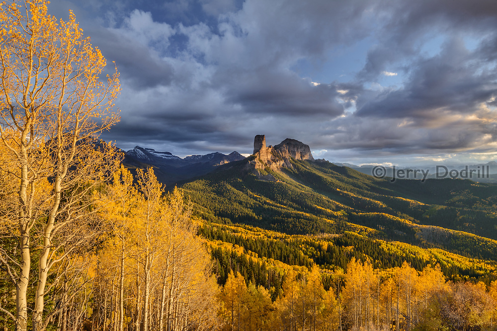 Autumn sunset on Chimney Rock from Cimarron Ridge, Uncompaghre National Forest, San Juan Mountains, Colorado