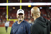 Los Angeles Chargers defensive coordinator Gus Bradley in action during the 2018 NFL preseason week 4 football game against the San Francisco 49ers on Thursday, Aug. 30, 2018 in Santa Clara, Calif. The Chargers won the game 23-21. (©Paul Anthony Spinelli)