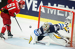 Andrei Stepanov of Belarus scores against Pekka Rinne of Finland at penalty shots after overtime during Ice Hockey match between Finland and Belarus at Day 11 in Group B of 2015 IIHF World Championship, on May 11, 2015 in CEZ Arena, Ostrava, Czech Republic. Photo by Vid Ponikvar / Sportida