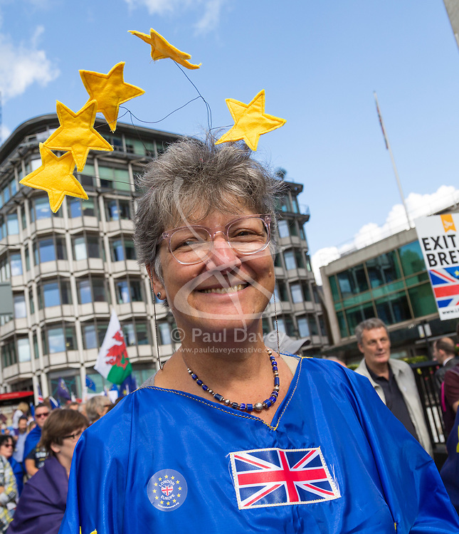 """London, September 09 2017. Thousands of protesters gather in London for a march from Hyde Park Corner to Parliament Square, with the organisers saying """"The British public is increasingly concerned about Brexit; poll after poll shows a bigger majority for staying in the EU"""". © Paul Davey"""