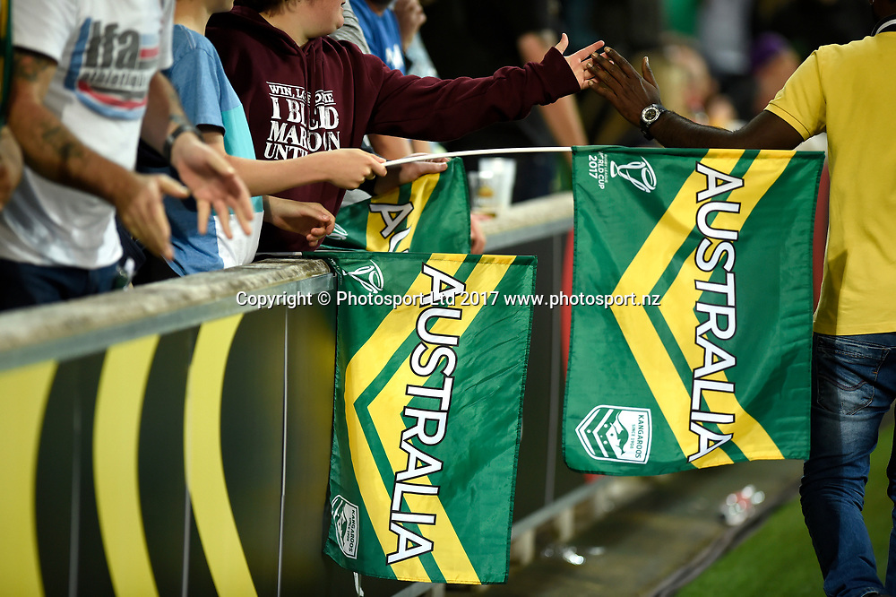Australian Flags.<br /> RLWC 2017. Australia Kangaroos v England. Rugby League World Cup. Melbourne Rectangular Stadium, Melbourne Australia. Friday 27 October 2017. &copy; www.photosport.nz