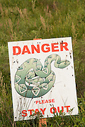Danger rattlesnake sign in Andersonville, Georgia.