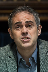 © Licensed to London News Pictures. 28/04/2017. LONDON, UK. JONATHAN BARTLEY, Green Party co-leader at the Green Party LGBTIQA+ manifesto launch, at Trinity United Reform Church in London. Jonathan Bartley and Aimee Challenor today set out set out the Green Party LGBTIQA+ manifesto pledges, including commitment to provide the HIV prevention drug PrEP on the NHS.  Photo credit: Vickie Flores/LNP