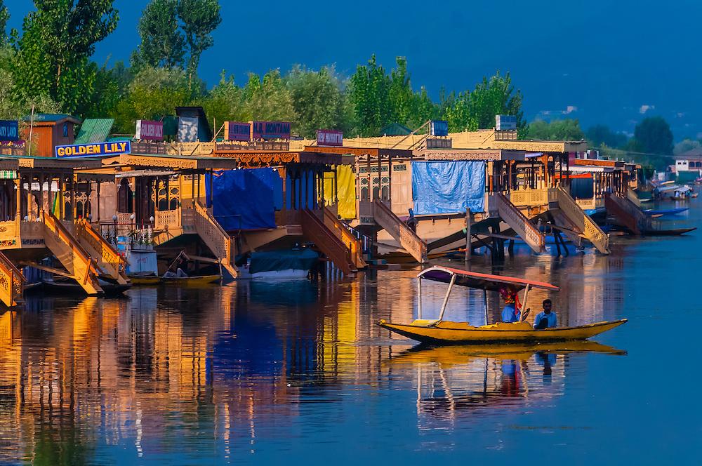 A shikara (boat) on Dal Lake, Srinagar, Kashmir, Jammu and Kashmir State, India.