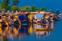 A shikara (boat) on Dal Lake, Srinagar, Kashmir, Jammu and Kashmir State, India.