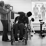 Ricky works on his physical therapy with Kate Baxter, at the Woodrow Wilson Rehabilitation Center, in Fishersville, VA, on Wednesday, August 31, 2010.  Ricky tries to maintain a schedule of three months of therapy, followed by three months off. For The News & Messenger (Manassas, VA)