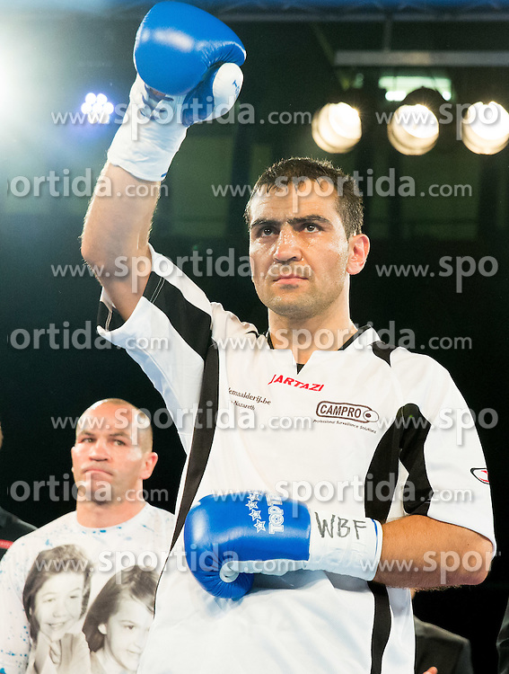 Sasha Yengoyan (Blue) of Belgium  prior to the fight against Dejan Zavec alias Jan Zaveck of Slovenia (Red)  at Fight for World WBF Champion during First Class Boxing event, on April 11, 2015 in Arena Tabor, Maribor, Slovenia. Photo by Vid Ponikvar / Sportida