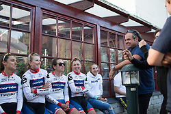 DS Thomas Campana celebrates with his Cervélo-Bigla Cycling Team the second place result after the 42,5 km team time trial of the UCI Women's World Tour's 2016 Crescent Vårgårda women's road cycling race on August 19, 2016 in Vårgårda, Sweden. (Photo by Balint Hamvas/Velofocus)