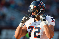 November 20, 2010; Chestnut Hill, MA, USA;  Virginia Cavaliers offensive linesman Oday Aboushi (72) lines up for a play against the Boston College Eagles during the fourth quarter at Alumni Stadium.  Boston College defeated Virginia 17-13.