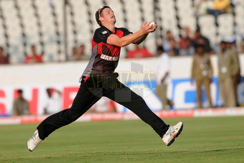 Wayne White of Leicestershire Foxes takes a catch during the CLT20 - Q5 match between Leicester and Ruhunu held at the Rajiv Gandhi International Stadium, Hyderabad on the 21st September 2011..Photo by Pal Pillai/BCCI/SPORTZPICS