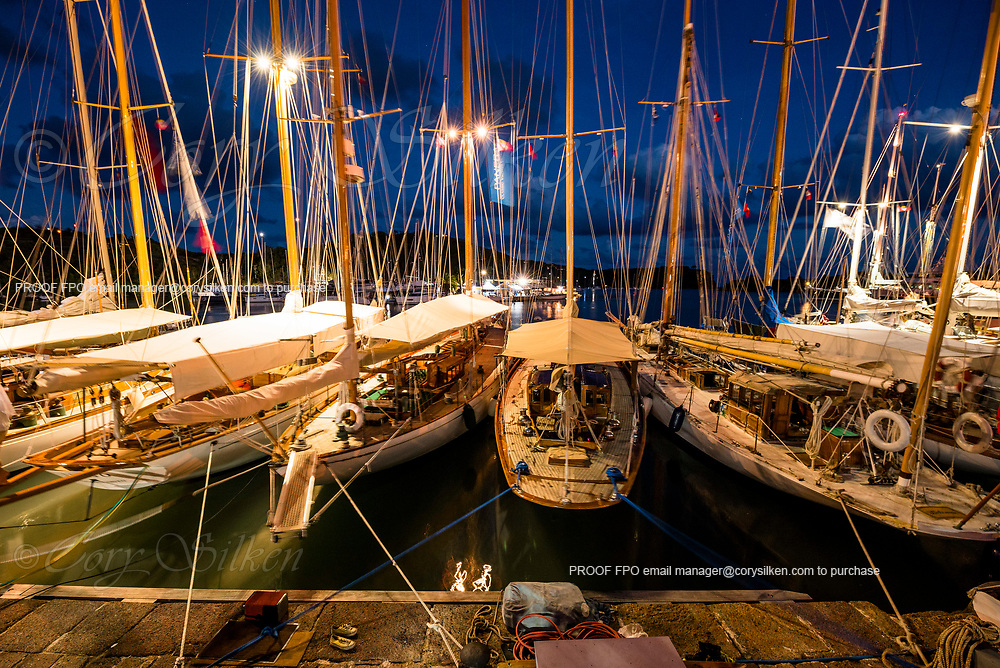 Boats docked in Nelson's Dockyard during the Antigua Classic Yacht Regatta.