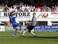 Photo: Steve Bond/Richard Lane Photography. Hereford United v Leicester City. Coca Cola League One. 11/04/2009. Lloyd Dyer (L) scores past keeper Peter Gulacsi