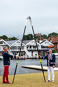 Henley on Thames, England, United Kingdom, Sunday, 07.07.19, Nigel LANGLEY (right) and colleague, holding oars, celebrating the 150 year anniversary, of Frankfurter Rudergesellschaft Germania , FRG, 1869 e.V., Henley Royal Regatta,  Henley Reach, [©Karon PHILLIPS/Intersport Images]<br /> <br /> 09:34:08 1919 - 2019, Royal Henley Peace Regatta Centenary,